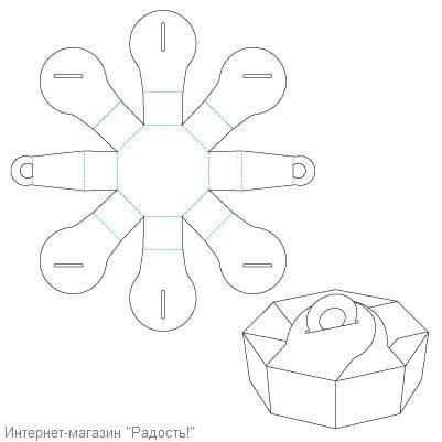 8-угольная коробочка с ручкой для упаковки плоских кусочков мыла ручной работы.