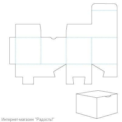 картонная коробка-кубик - схема для склеивания упаковки для мыла ручной работы.