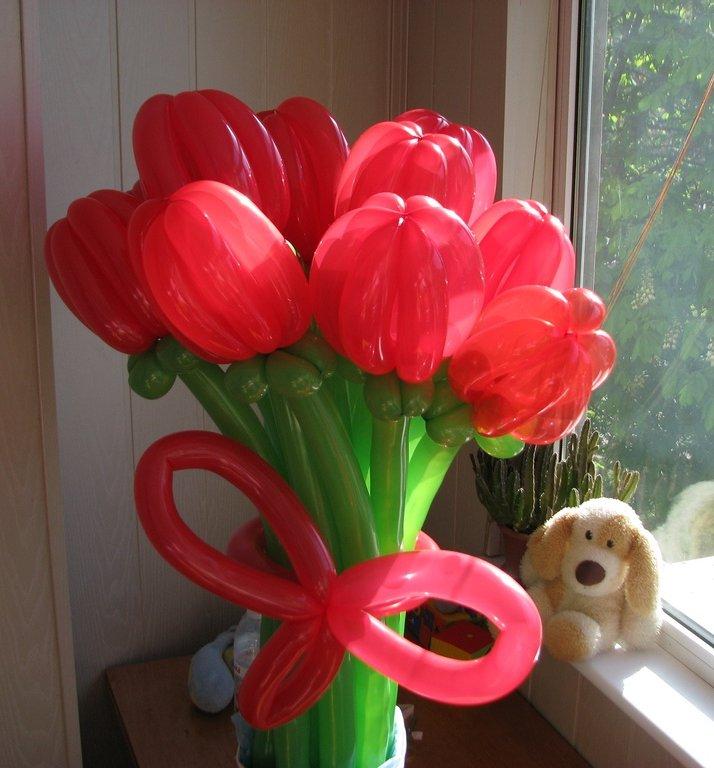 шары для моделирования: букет тюльпанов