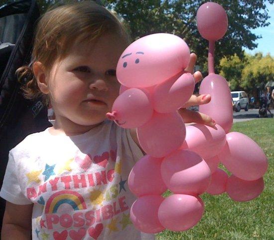шары для моделирования: розовый пудель и его хозяйка