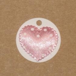 4.59: Белые бирки из картона с атласным сердечком*