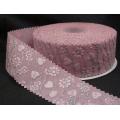 Розовая атласная ленточка с рельефным узором