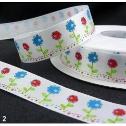 5.341: Атласная декоративная лента с цветочным узором (16 мм)