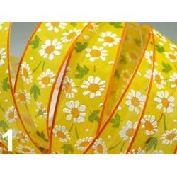 """5.444: Декоративная лента из капрона """"Ромашковый день"""" (25 мм)"""