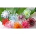 Цветы из органзы с бусинками
