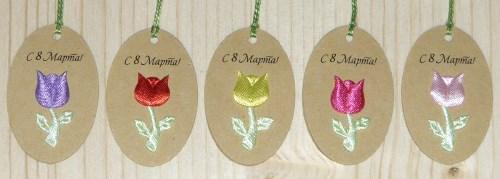овальные картонные бирки к 8 марта / из крафт-картона, с цветком тюльпаном