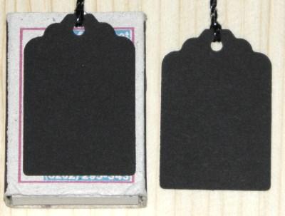 бирки 45х30 мм с ниткой чёрного цвета