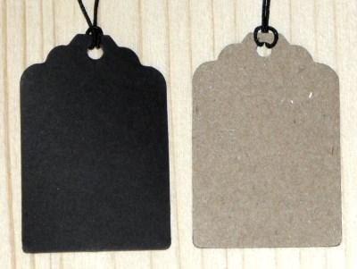 бирки двуцветные: черные + крафт-картон, с верёвочкой и резинкой