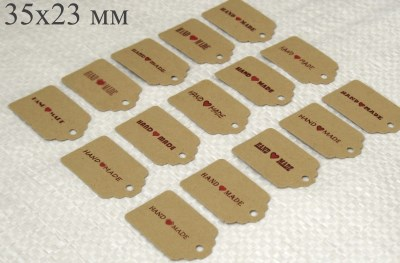 42. бирки с коричневой надписью HANDMADE, набор 15 шт / фото бирки