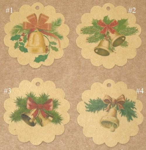 Новогодние бирки-крафт с рождественскими колокольчиками