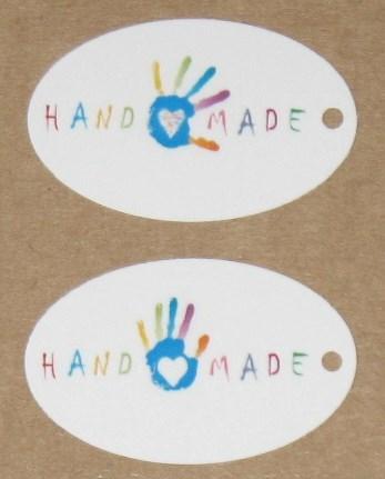 """Белые овальные бирки """"Ладошка"""" с надписью HANDMADE (набор 12 шт)"""