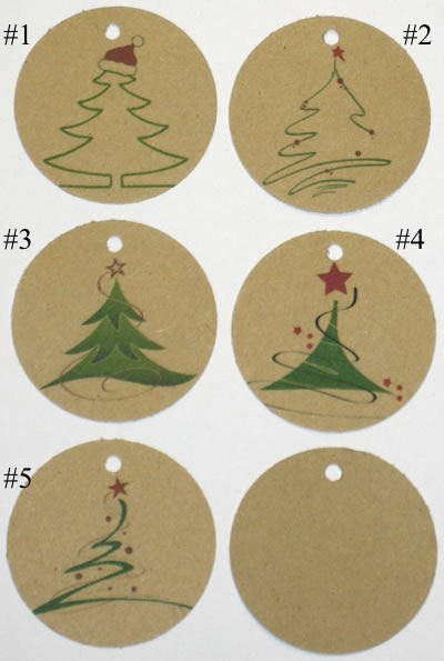 бирки новогодние из крафт-картона, с ёлочкой