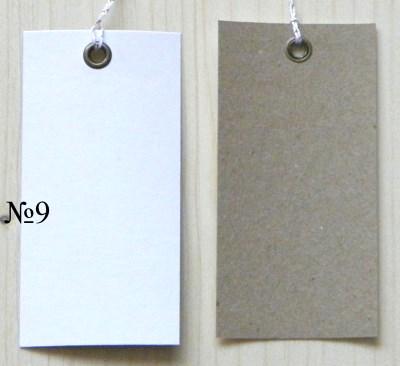 двуцветные крафт-бирки с люрекс-верёвочкой / белые+крафт 2-цветные бирки 4*8 см