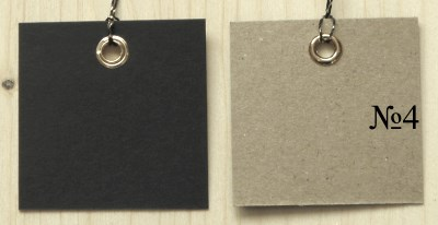 бирки 4*4 см, 2-цветные крафт+чёрные / двухцветные бирки крафт с верёвочкой люрекс