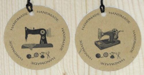 Бирки для шитья из крафт-картона handmade и швейной машинкой