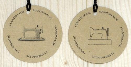 Двойные бирки крафт для шитья HANDMADE