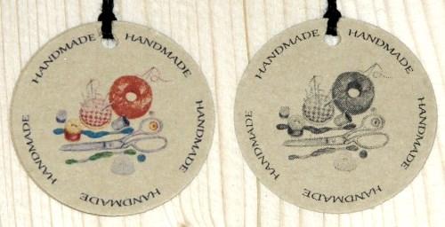 круглые бирки для шитья HANDMADE