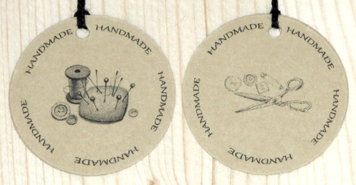 круглые бирки из крафт-картона для шитья HANDMADE