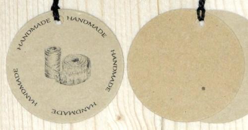двойные бирки из картона крафт для шитья HANDMADE
