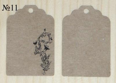 крафт картонные бирки с цветочным узором