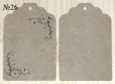 Крафт-ярлыки угловые, с орнаментом, размер 68*45 мм