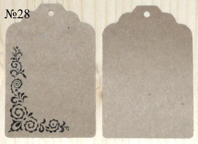 Крафт-бирки, ярлыки с орнаментом, размер 68*45 мм, для товаров ручной работы