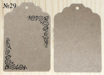 Крафт-ярлыки с орнаментом, размер 68*45 мм, для товаров ручной работы