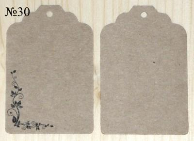 Крафт-бирки,  орнаментом, размер 68*45 мм, для товаров ручной работы