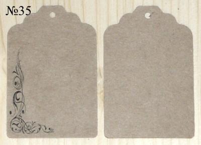 Крафт-ярлыки из картона, с орнаментом, размер 68*45 мм