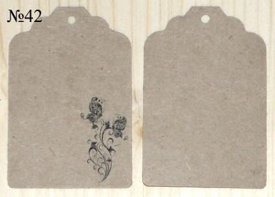 картонные ярлыки с орнаментом, размер 68*45 мм