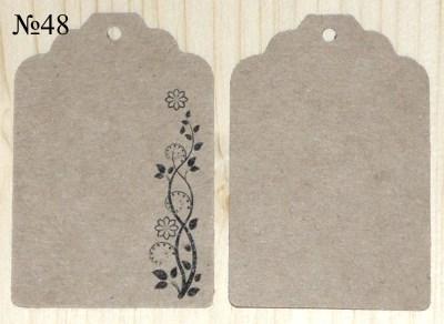 картонные бирки из крафт-бумаги, с орнаментом, размер 68*45 мм