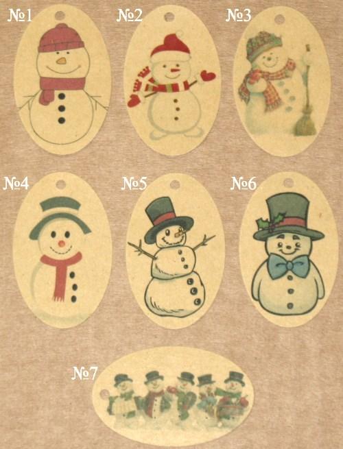 фото: овальные бирки новогодние снеговик, из крафт-картона
