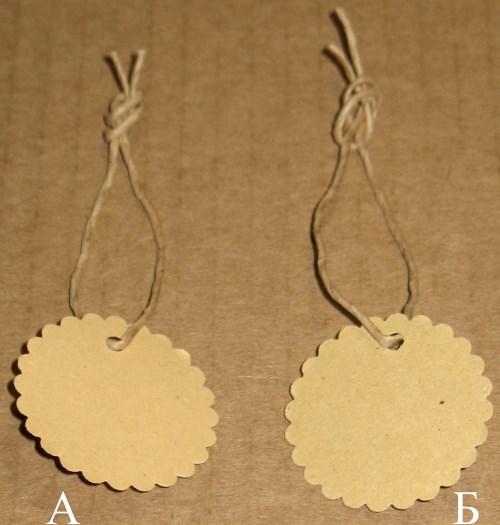 бирки из крафт-картона круглые, с волнистым краем, размер 36 мм, тёмные и светлые / фото бирок