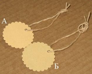 бирки круглые из крафт-картона с волнистым краем,36 мм / фото бирок