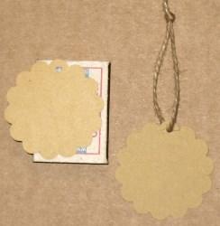 Большие круглые бирки для изделий ручной работы, с волнистым краем, тёмные / фото бирок