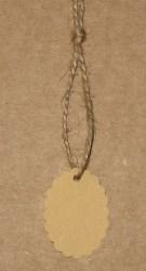 Овальные бирки для изделий ручной работы, с волнистым краем, без надписи / фото крафт-бирок