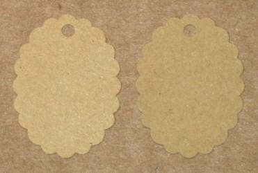 бирки для изделий ручной работы, из крафт-картона, овальные с волнистым краем / фото бирок