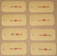 бирки крафт картон, надпись handmade, размер 26*54 мм