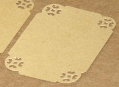 Прямоугольные бирки-этикетки с прорезным узором из крафт-картона, набор из 10 шт