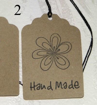 2. крафт-бирки из картона с надписью Handmade, для товаров ручной работы, с узором