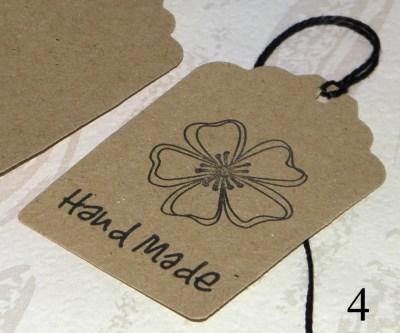 4. бирки-крафт картон Handmade, для товара ручной работы, с цветком