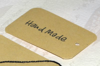 бирки Hand made из тонкого светлого крафт-картона