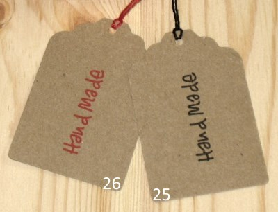 бирки-ярлыки с надписью Handmade из картона крафт