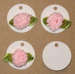 Маленькие круглые картонные бирки с розовым цветком