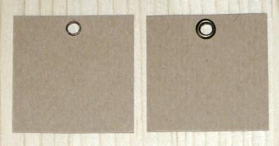 крафт-бирки 4*4 см с металлическим односторонним люверсом бронзового цвета