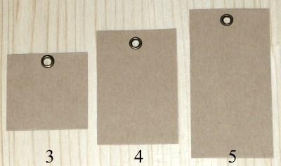 бирки размеров 4*4, 4*6 и 4*8 см с двухсторонним люверсом бронзового цвета