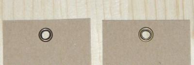 лицевая и оборотная сторона 2-стороннего люверса / крафт-бирки с люверсами