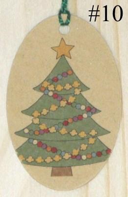 Бирки Ёлочка из крафт-картона с золотой звездой