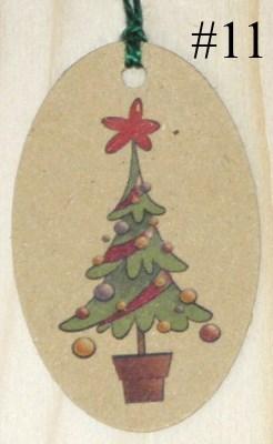 Бирки Ёлочка из крафт-картона в горшке, с игрушками и красной звездой