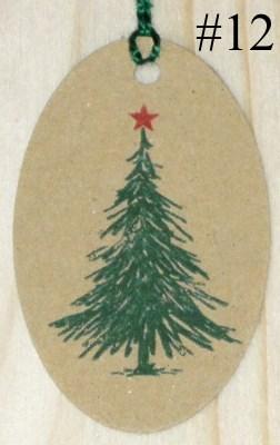Бирки из крафт-картона ель новогодняя со звездой